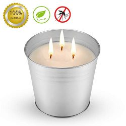 MEIGAO 20 Oz 3-Wick Citronella Scented Candles Soy Wax Bucket Candle Seaside Escape Indoor and O ...