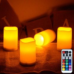 LAMPDREAM 4 Packs Battery Operated Flameless Candle Lights with Remote and Timer, Warm White LED ...