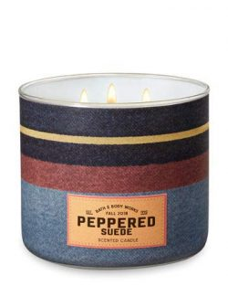 Bath and Body Works White Barn Peppered Suede 3 Wick Candle Striped Fall Denim Look 14.5 Ounce