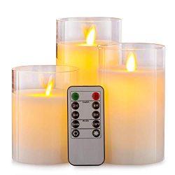 Aku Tonpa Flameless Candles Battery Operated Pillar Real Wax Flickering Moving Wick LED Glass Ca ...