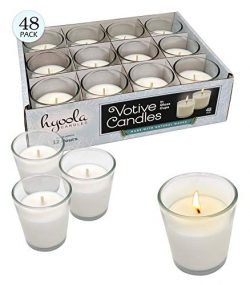 Hyoola White Votive Candles – 48 Pack – Clear Glass Cups, Unscented, Long 12 Hour Bu ...