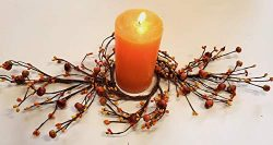 MerdCraft Unique Swag Orange, Yellow Candle Ring with Mini Pumpkins and Berries – for 3 ...