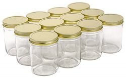 North Mountain Supply 16 Ounce Glass Wide Mouth Straight-Sided Canning Jars – with Gold Me ...