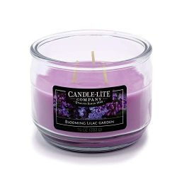 Candle-Lite Everyday Scented Blooming Lilac Garden 3-Wick Jar Candle, 10 oz, Blue