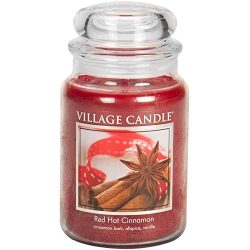 Village Candle Red Hot Cinnamon 26 oz Glass Jar Scented Candle, Large