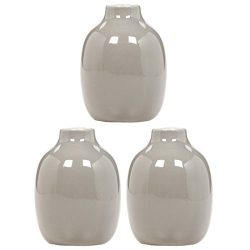 Hosley Set of 3 Taupe Ceramic Vases 5.12 Inch High. Ideal for Dried Floral Arrangements for Wedd ...