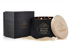 Aubert & Amandine Peace Bergamot Cedar Luxury Scented 3 Wick Soy Candle for Stress Relief &a ...