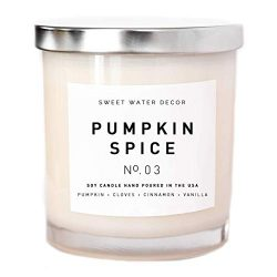 Pumpkin Spice Soy Wax Candle White Jar Silver Lid Scented PSL Pie Wood Bark Buttercream Fall Aut ...