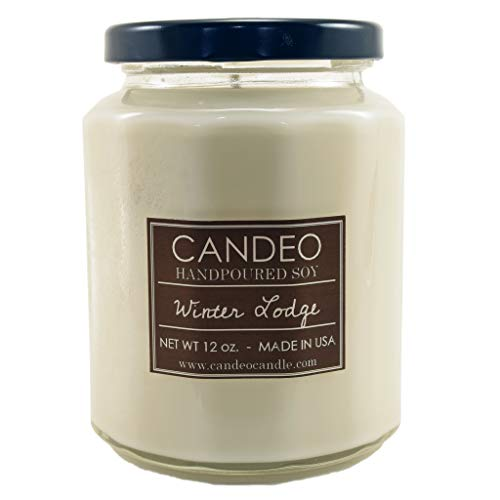 Winter Lodge, Handpoured Soy Candle Jar, Made in The USA, 12 oz Jar Candle