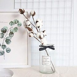 AIUSD Clearance  ,Naturally Dried Cotton Stems Farmhouse Artificial Flower Filler Floral Decor