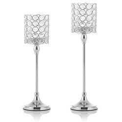 VINCIGANT Silver Tea Light Candle Holders Set of 2 for Mothers Day Coffee Table Decorative Cente ...