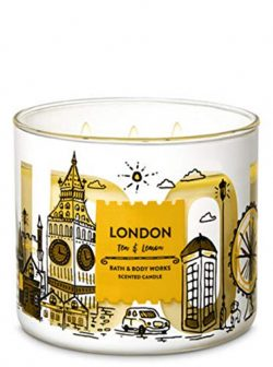 Bath and Body Works White Barn London Lemon and Tea 3 Wick Candle 14.5 Ounce City Scene Label