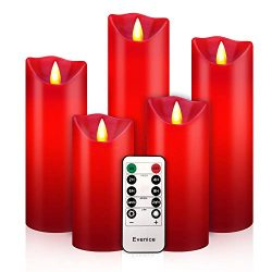Flameless LED Candles Flickering Pillar Candles Battery Operated Candles Unscented with Timer an ...