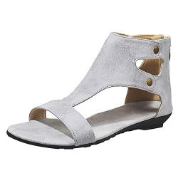 TnaIolral Ladies Sandals Leisure Solid Rome Peep Toe Large Size Flat Shoes (US:7, Gray)