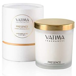 VATIMA Presence Natural Soy Scented Candle – Strong Fragrance of Sandalwood and Musk, Gift ...