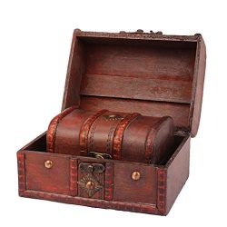 AIUSD Clearance  ,Jewelry Box Vintage Wood Handmade Box With Mini Metal Lock For Storing Jewelry ...