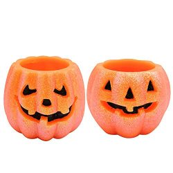 Halloween Pumpkin Candles Flameless Flickering Battery Operated Jack O Lantern, Oranged and Blac ...