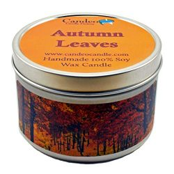 Autumn Leaves, Fall Scented Soy Candle Tin (6 oz), Autumn Candles