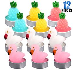 Glarks 12 Pieces Tealight Candles Handmade Delicate Flamingos Pineapple Artificial Candles Perfe ...