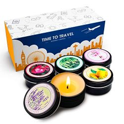 YMING Scented Travel Tin Candles, 100% Natural Soy Wax, Set Of 5 Aromatherapy (Lavender, Vanill ...