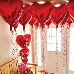 12 + 1 Red Heart Shape Balloons – 1 I Love U Balloon – Helium Supported – Love ...