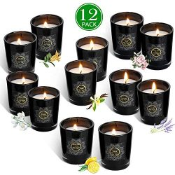 YIH Scented Candles Soy Candle, Anxiety Reducer Lemon, Lavender, Rose ,Jasmine,Vanilla,Bergam ...