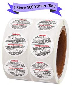 Candle Warning Labels 1.5 inch Candle Jar Container Stickers500 Pcs Per Roll Waterproof Candle  ...