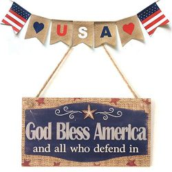 USA Flag Wooden Plaque,American 4th of July Independence Day Wooden Plaque Sign,Wall Art, Decora ...