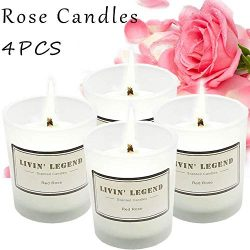 Rose Scented Candle-Highly Rosemary Aroma & Long Lasting for Stress Relief,Beauty Spa, Roman ...
