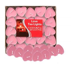 Yalulu 50 Pack Romantic Heart Shaped Smokeless Tealight Candles Tea Lights Candles for Home Deco ...