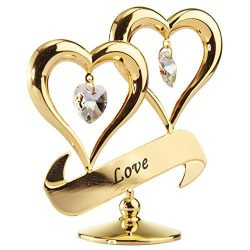 "24K Gold Dipped Love"" Ornament, Two Hearts with Dangling Crystals, Above a ""LoveR ..."