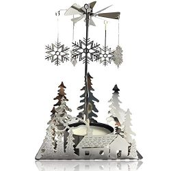 BANBERRY DESIGNS Spinning Winter Candle Holder – Silver Plated Laser Cut Winter Scene Desi ...