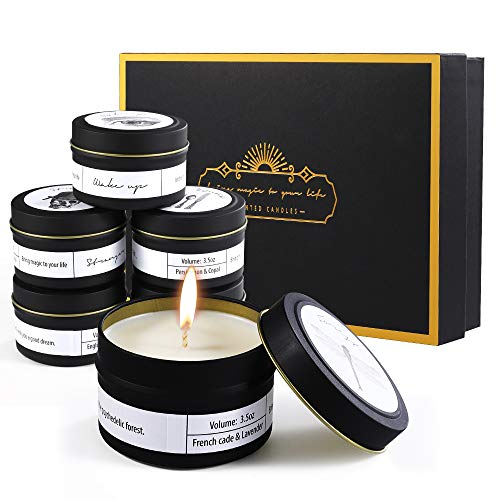 Priksia Scented Candles Gift Set, Natural Soy Wax 3.5 Oz Unit Portable Jar Candles Women Gift wi ...
