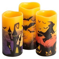 Eldnacele Halloween Flameless Flickering LED Candles with 6-Hour Timer, Battery Operated Wax Can ...