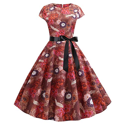 Aunimeifly Women's Round Neck Flower Print Vintage Dress Ladies Short Sleeve Waist Bow Kno ...