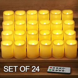 HOME MOST Set of 24 LED Votive Candles with Timer and Remote (IVORY) – LED Flickering Flam ...