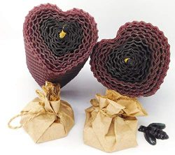 Heart Candles Purple and Black Set. 2 Colored Pillar Beeswax Candles with Honey Scent and 2 Shea ...