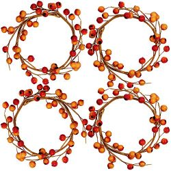 4 Pack Fall Candle Rings with Artificial Orange Berries Mini Berry Twig Wreath Candle Wreath Ber ...