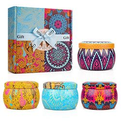 Y YUEGANG Scented Candles Gift Sets, Soy Wax Natural Aromatherapy Candles with Travel Tin, Bath  ...