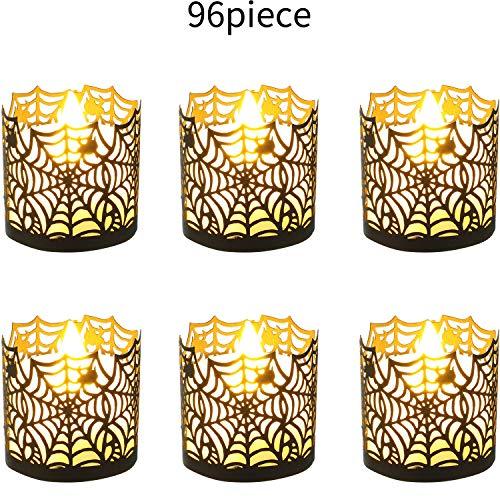 Boao Halloween Candle Holder Spiderweb Candle Wraps Tea Light Decorative Wraps for Halloween Par ...