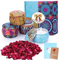 Konsait Scented Candles Gift Set, 4pcs 120 Hours Burning Time Travel Tin Aromatherapy Candles, S ...