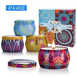Yinuo Candle Scented Candles Set, 100% Soy Wax Portable Tin Candles, Stress Relief and Aromather ...