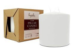 White Three Wick Large Candle – 6 x 6 Inch – Unscented Big Pillar Candles – 14 ...