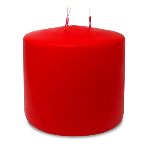 Red Three Wick Large Candle – 6 x 6 Inch – Unscented Big Pillar Candles – 146  ...