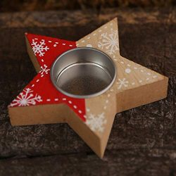 Shan-S Candle Holder,Christmas Decorations Creative Wooden Love Shape Candlestick Pentagram Cand ...