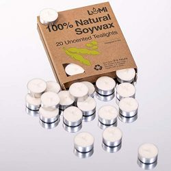 FamiCoop 100% Soy Tealight Candles – 20PC Organic Soy Candles Non Toxic – Fill Your  ...