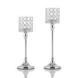 VINCIGANT Set of 2 Crystal Silver Candle Holders for Mothers Day Home Modern Decor/Wedding Table ...