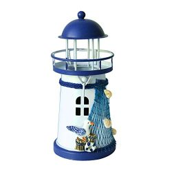 Shimigy Mediterranean Lighthouse Iron Candle Candlestick Blue White Home Table Decor (C)