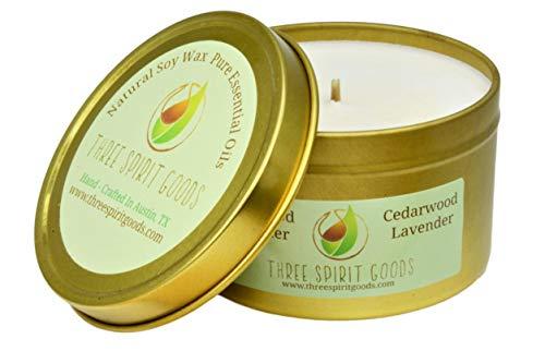 Three Spirit Goods 8 oz Gold Cedarwood/Lavender Candle – Clean Burning Soy Wax, Pure Essen ...