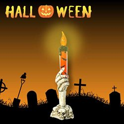 Shan-S Halloween Tealight Candles, LED Light Skull Candle Holder Skeleton Ghost Hand Flameless F ...